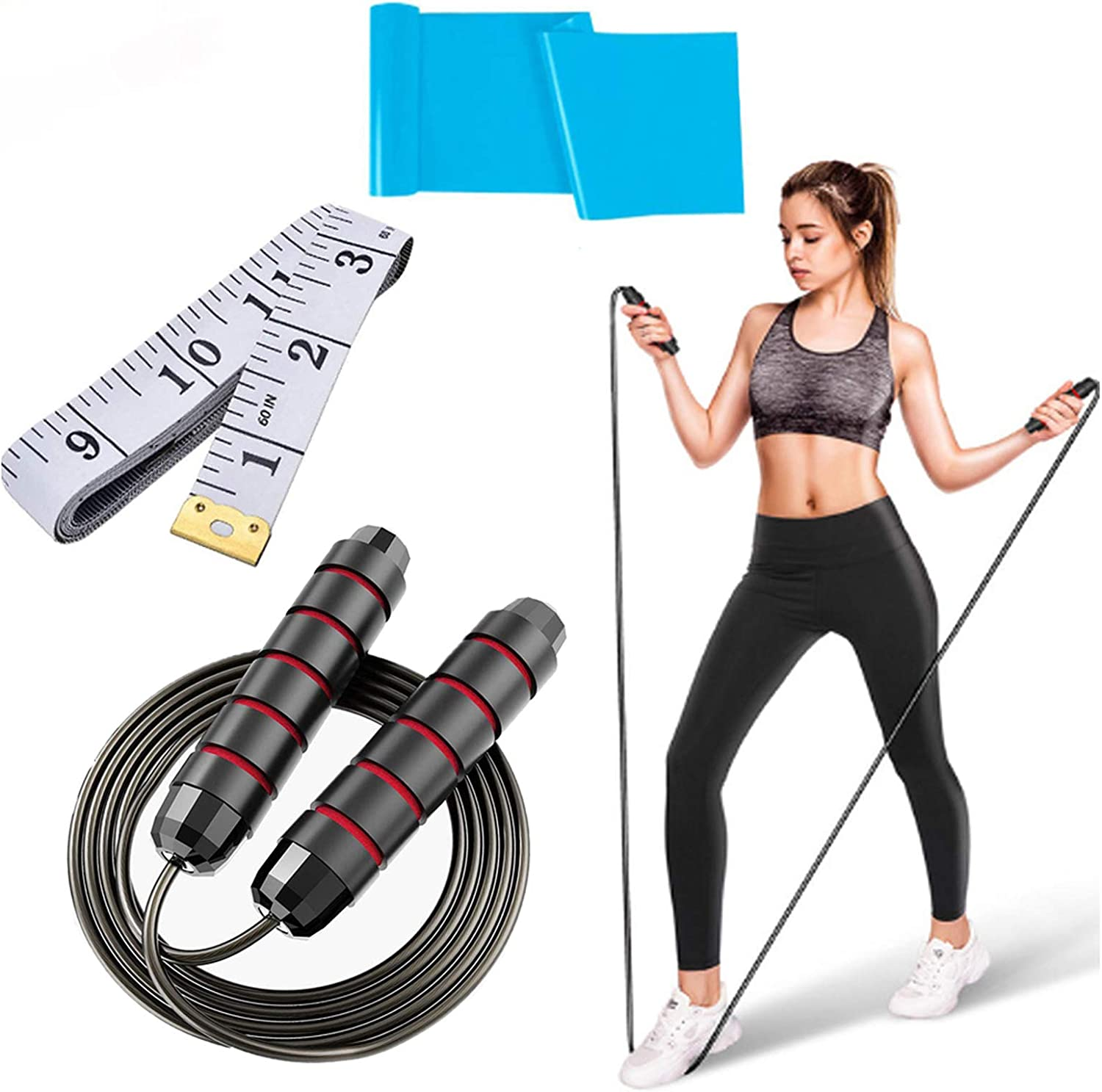 Adjustable Jump Rope for Men//Women//Children Skipping Rope Tangle-Free with Anti-Slip Handles Great for Aerobic Exercise Aessdcan Jump Rope Suitable for Slimming//Work Out//Train//Entertainment