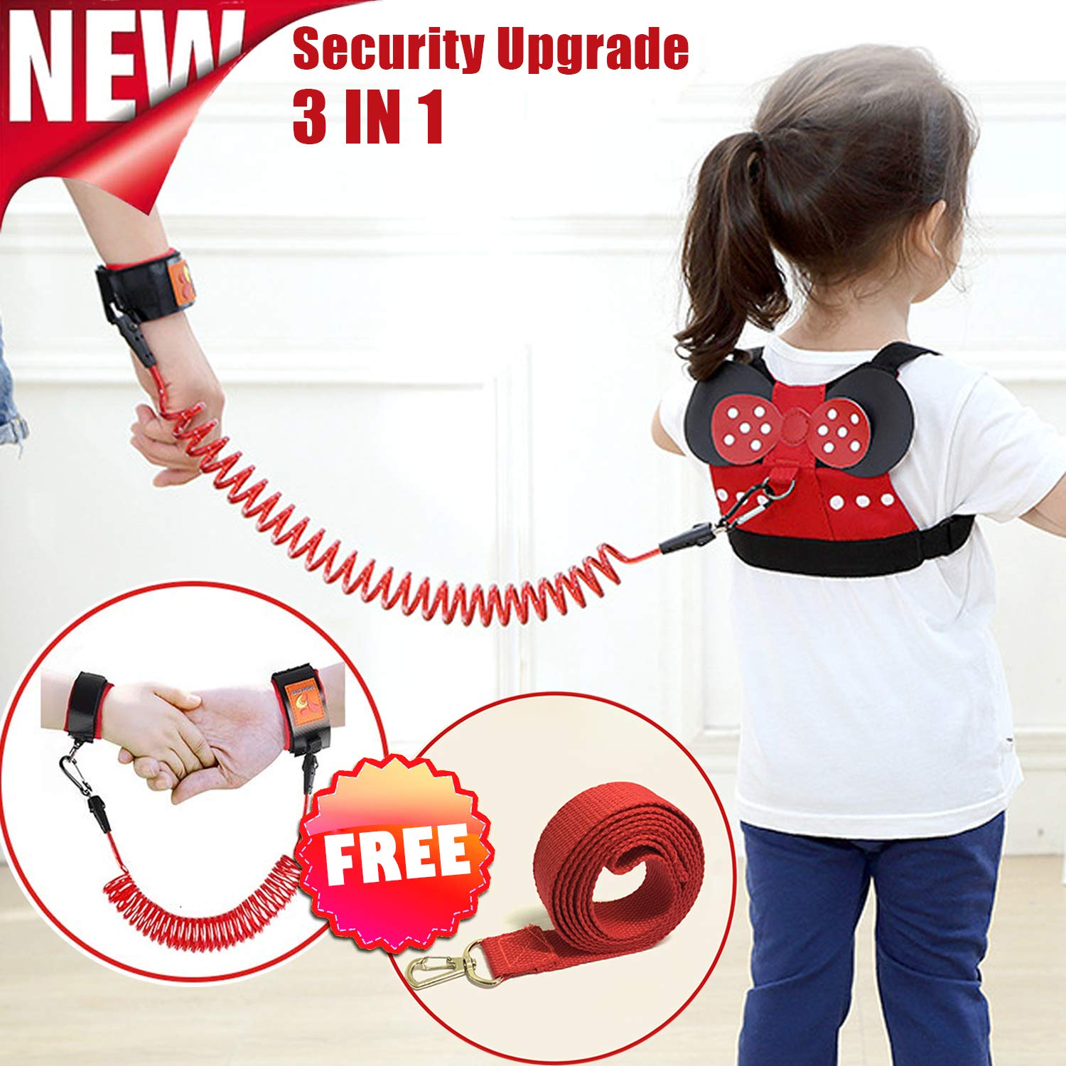 Kids Harness,Toddler Safety Harness Leashes Anti-Lost Belt Safety Walking Leash for Age 1-8 Year Old Boy Girl, Safety Anti Lost Wrist Link for Toddlers Babies to Outdoor,Zoo,Mall,Hiking,Amusement Park