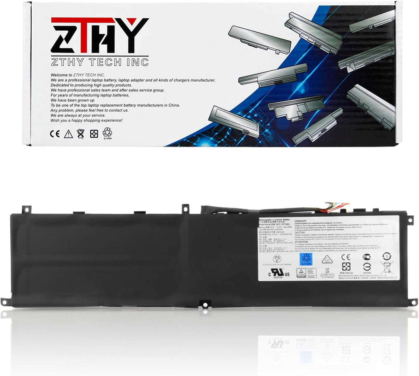 ZTHY New BTY-M6L Battery Replacement for MSI GS65 Stealth Thin 8RF 8RE 9RE PS42 8RB P65 Creator 8RD 8RE MS-16Q2 MS-16Q3 PS63 Modern 8RC GS75 8SG Series Laptop 15.2V 5380mAh 80.25Wh