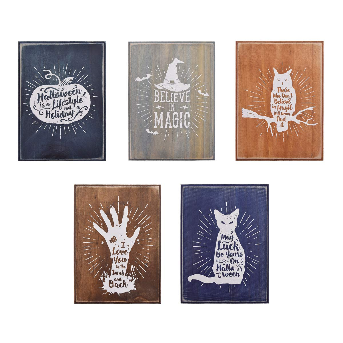 YeulionCraft DIY Halloween Theme Self-Adhesive Silk Screen Printing Stencil Mesh Transfers with Five Decorative Wood Plank for DIY T-Shirt Pillow Fabric Painting Paper Decoration Wall Decor by YeulionCraft