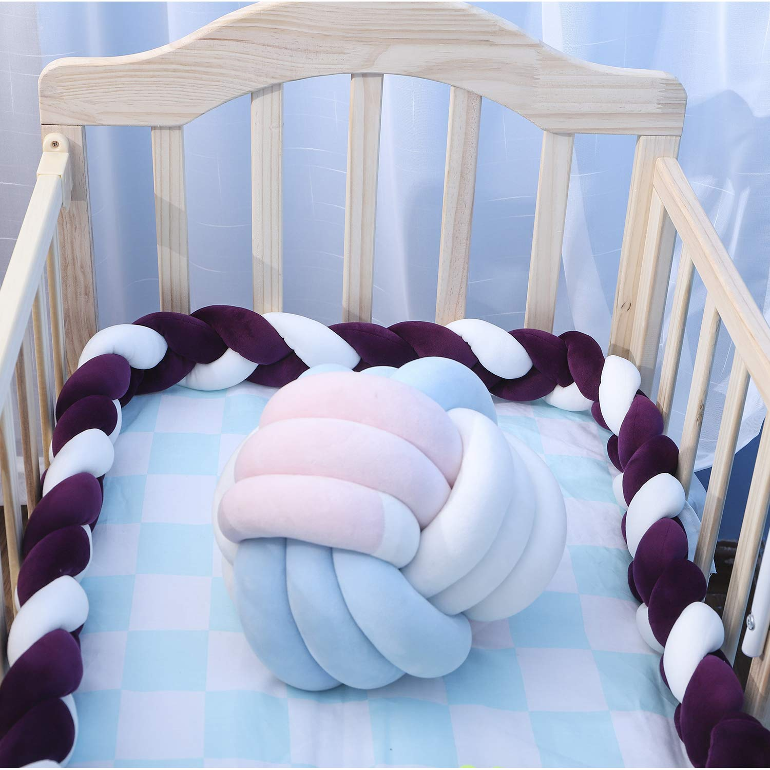 Lion Paw Crib Bed Bumper Pillow Cushion 158in Crib Sides Protector Infant Cot Rails Newborn Gift Knotted Braided Plush Nursery Cradle Decor Grey,158in