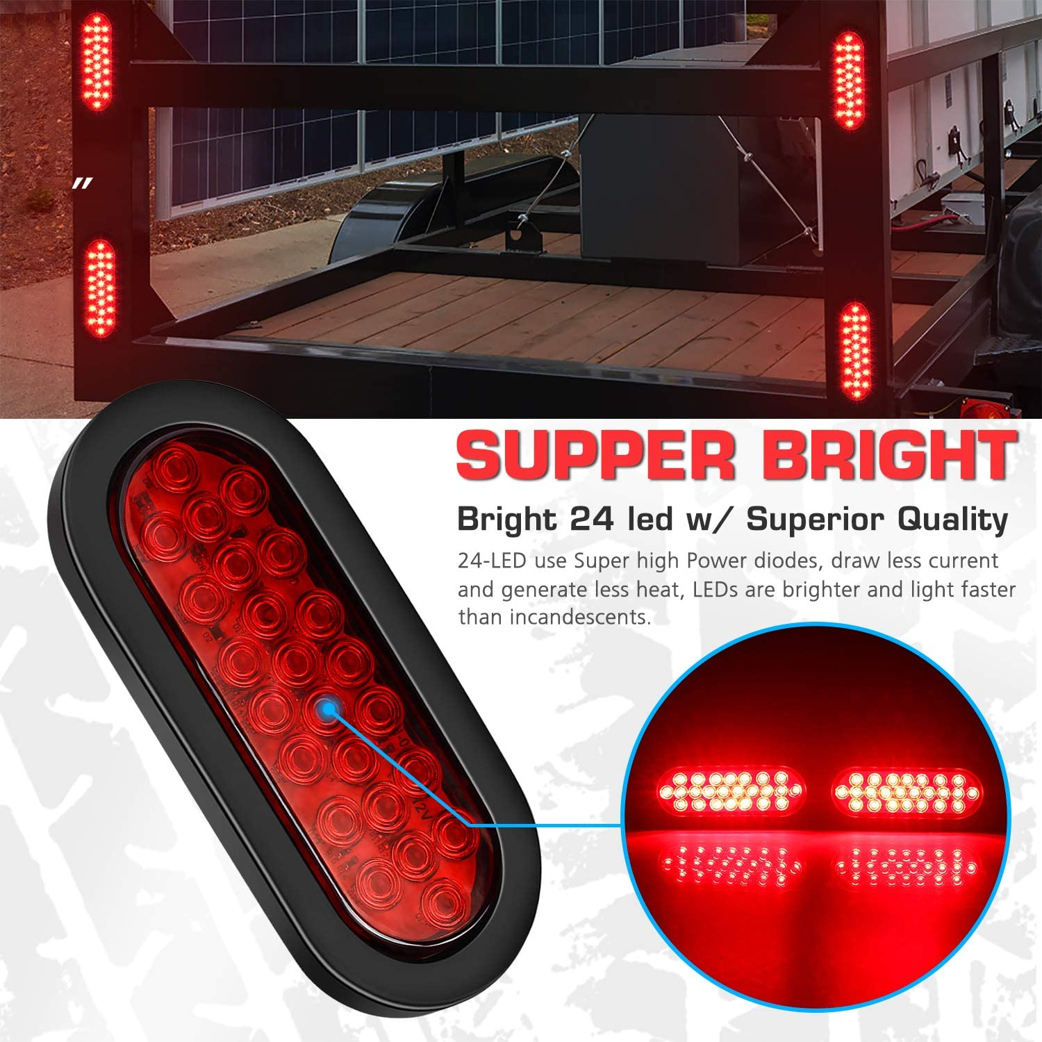 DOT Certified 4 Pack IP67 Super Bright Red 24LED Brake Turn Stop Marker Reverse Tail Lights with Waterproof Rubber Gaskets for Boat Trailer Truck RV 6 Inchs Oval Trailer Lights