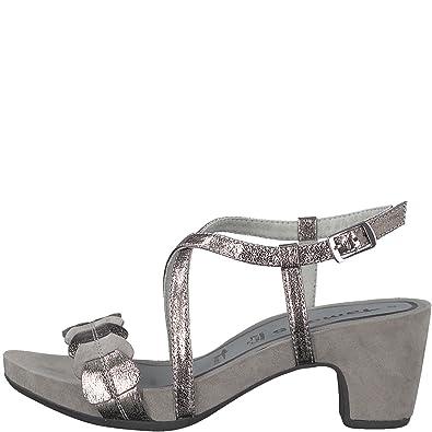 74c82224b28949 Tamaris Damen Sandalette Grau Metallic von Größe 36 bis 41 mit Touch-it  Fußbett  Amazon.de  Schuhe   Handtaschen