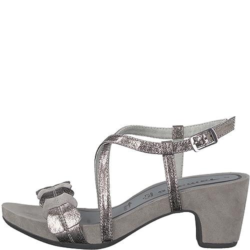 caa20468a3ab16 Tamaris Ladies Sandals 1-28391-20-220 Cloud Pewter Gray Metallic ...