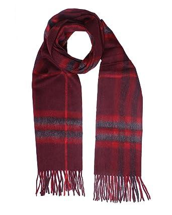 e93c76d915c8 BURBERRY LONDON - Echarpe 100% Cachemire - 168 x 30cm - rouge, Unique