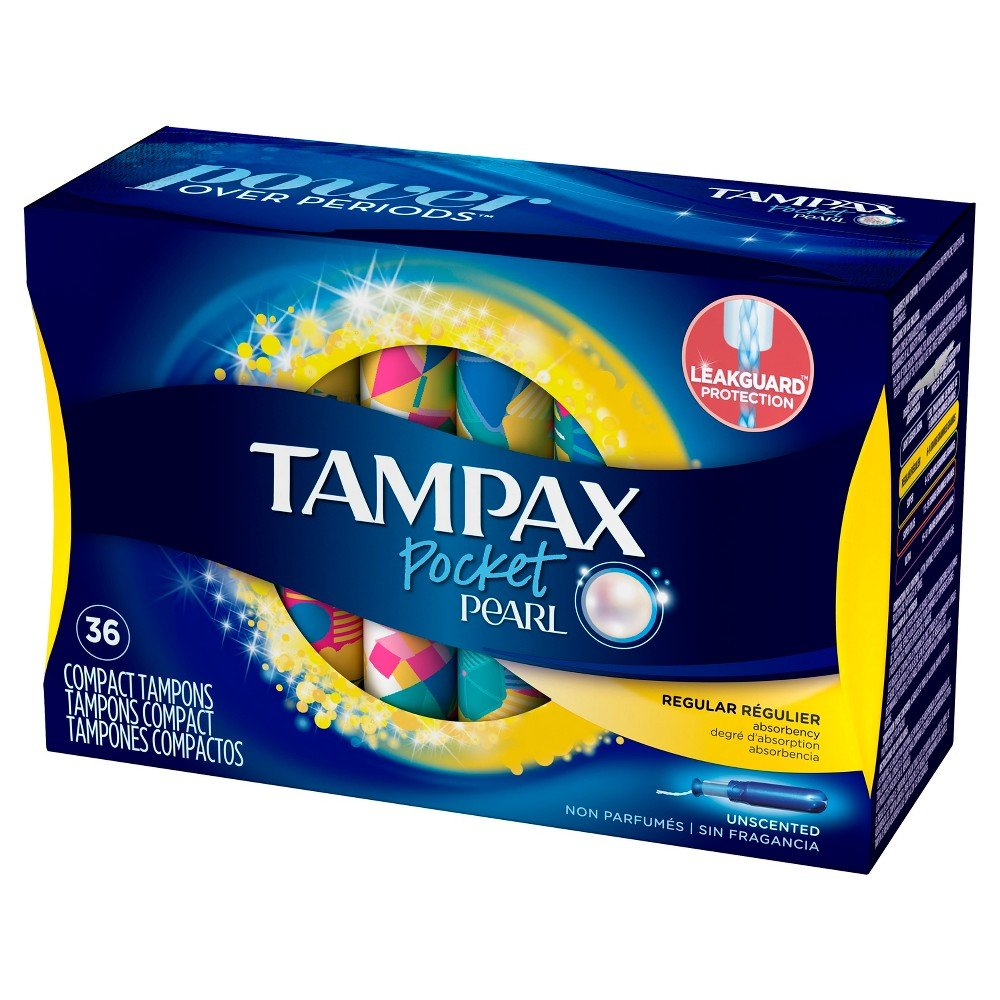 Tampax Pocket Pearl Plastic Tampons, Regular Absorbency, Unscented, 36 Count - Pack of 3 (108 Total Count) (Packaging May Vary)
