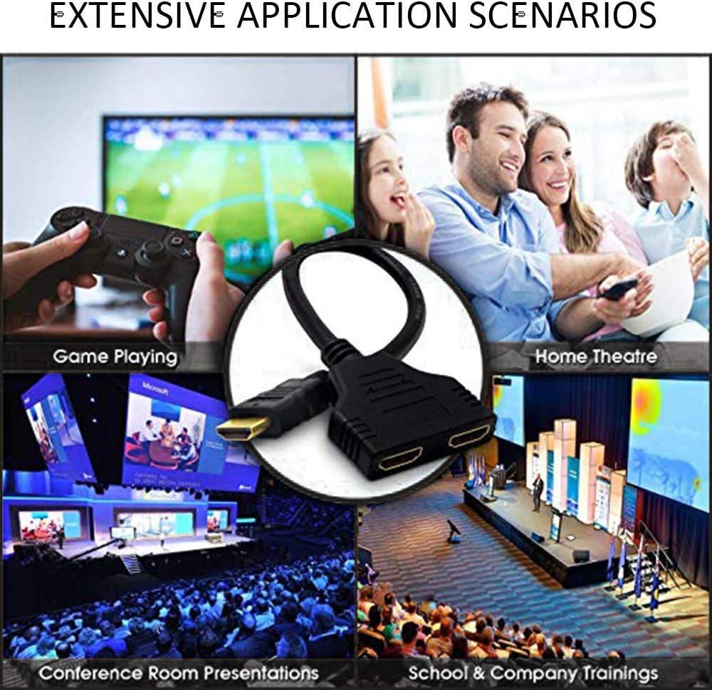 YuandCheng Partes electronicas Adaptador de HDMI Dual, HDMI a Dual HDMI Splitter, Macho a Hembra 1 Cable Adaptador de Divisor de 2 vías para HDTV, x 2, in out Simple y practico: