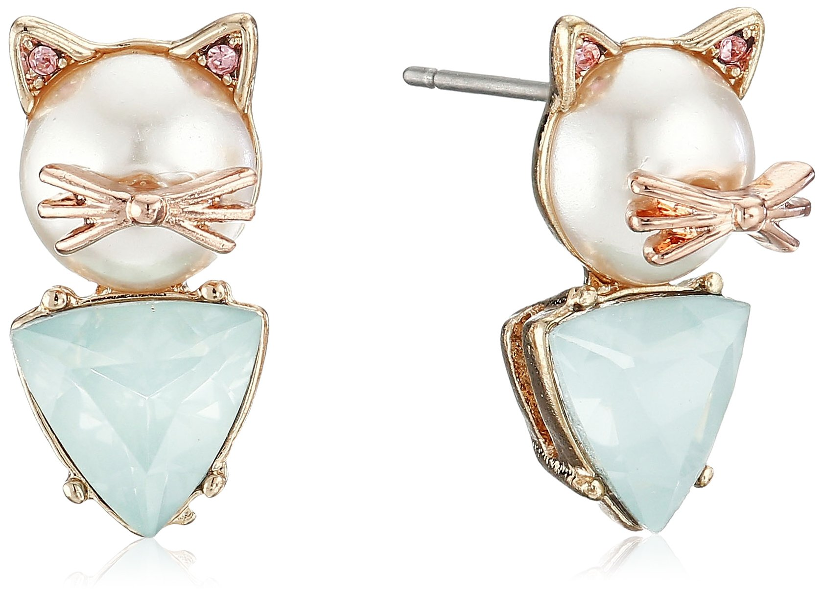 Betsey Johnson''Pearl Critters'' Cat Stud Earrings