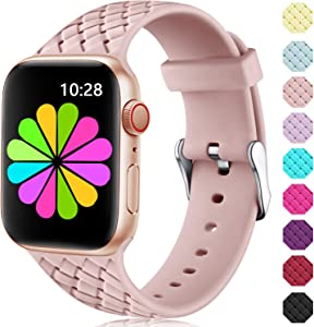 Haveda Cute Bands Compatible for Apple Watch Series 6 Series 5/4 44mm, Sport Silicone Bands for Apple Watch SE, Weaves Pattern Accessories for iWatch 42mm Series 3/2/1 Women Men 42mm/44mm S/M Pink