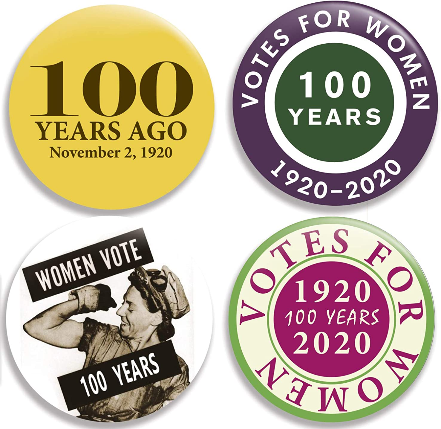 Set of 4 Collection I 100th Anniversary Votes for Women Pinback Buttons//Pins 2.25 inches