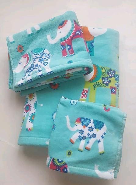 Cynthia Rowley Elephant Floral 6 Piece Bathroom Towel Set Cotton