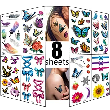 Amazon Com 3d Temporary Tattoos For Women 8 Sheets Glitter Tattoos Flowers Butterfly Body Art Temporary Tattoos Waterproof Decal Sticker Sexy Fake Stickers Girls Chest Hand Shoulder Or Back Beauty