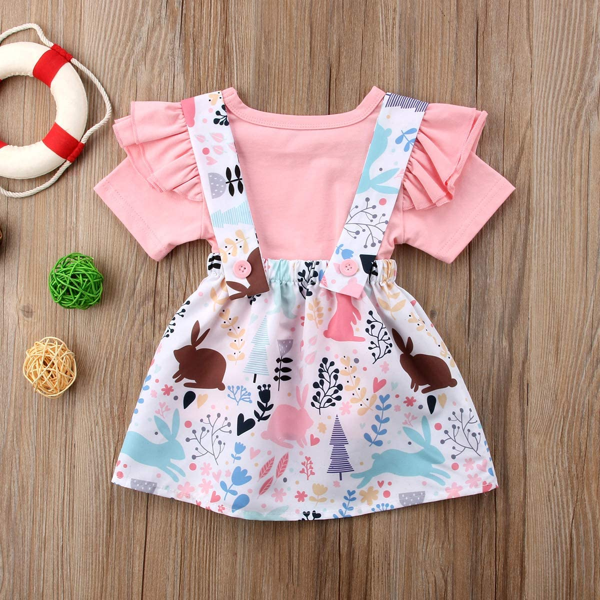 AnneBella Infant Girl Clothes 2Pcs Bunny Princess Mini Dress+T-Shirt Party Dress Tulle Skirt Summer Dresses