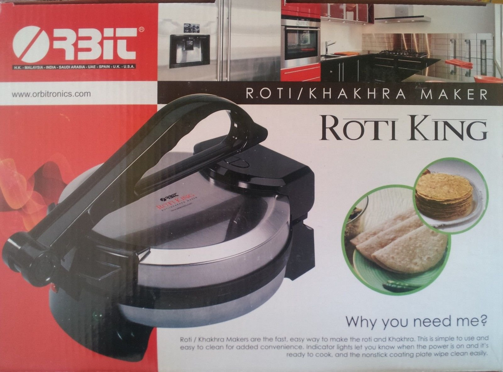 Roti King Tortilla Roti Maker1000 Watts Non-Stick 110 Volts