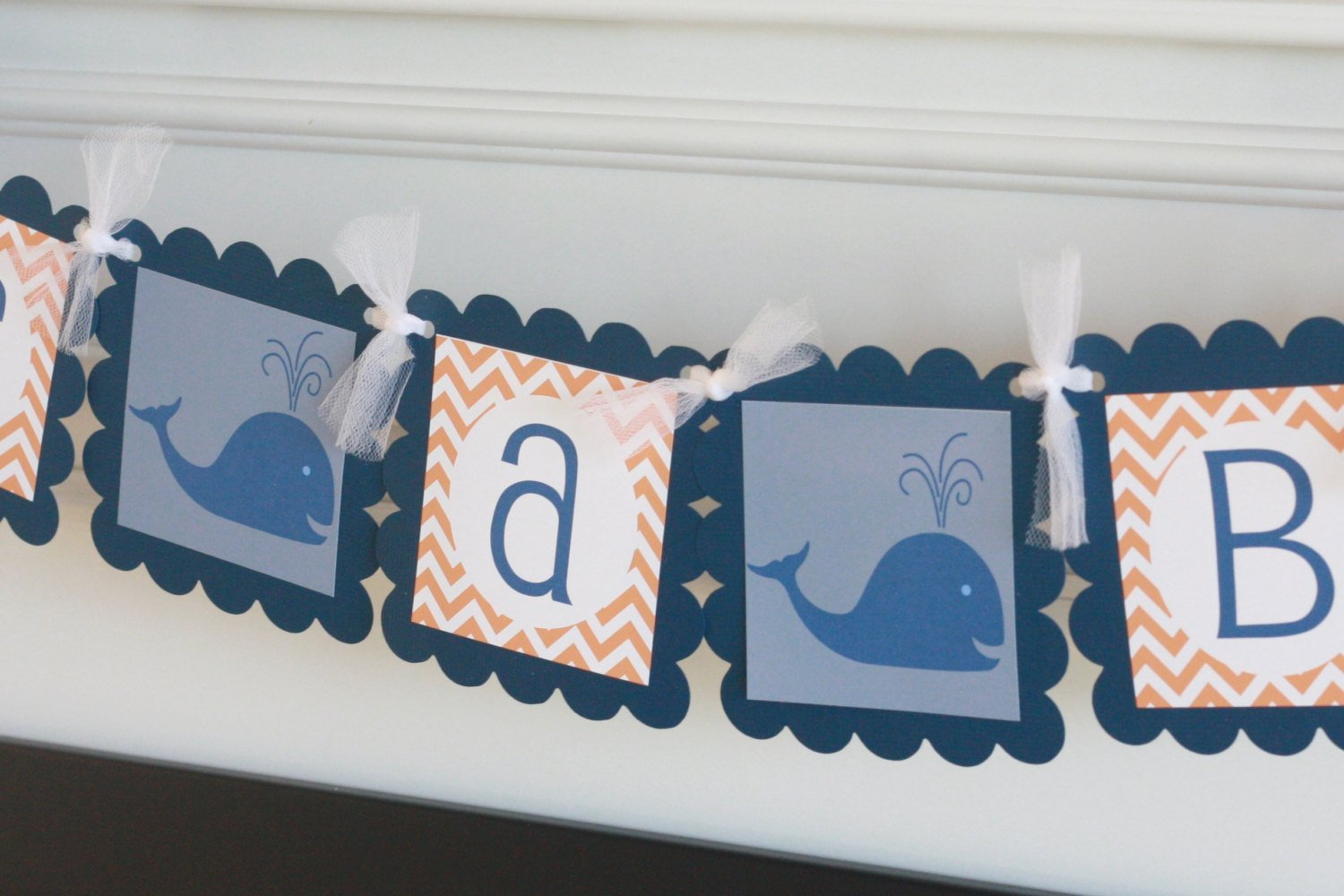 Whale Nautical Baby Shower Cupcake Toppers Banners Party Packages /& Favor Tags 12 Green /& Navy or Orange /& Navy Chevron Door Signs Available