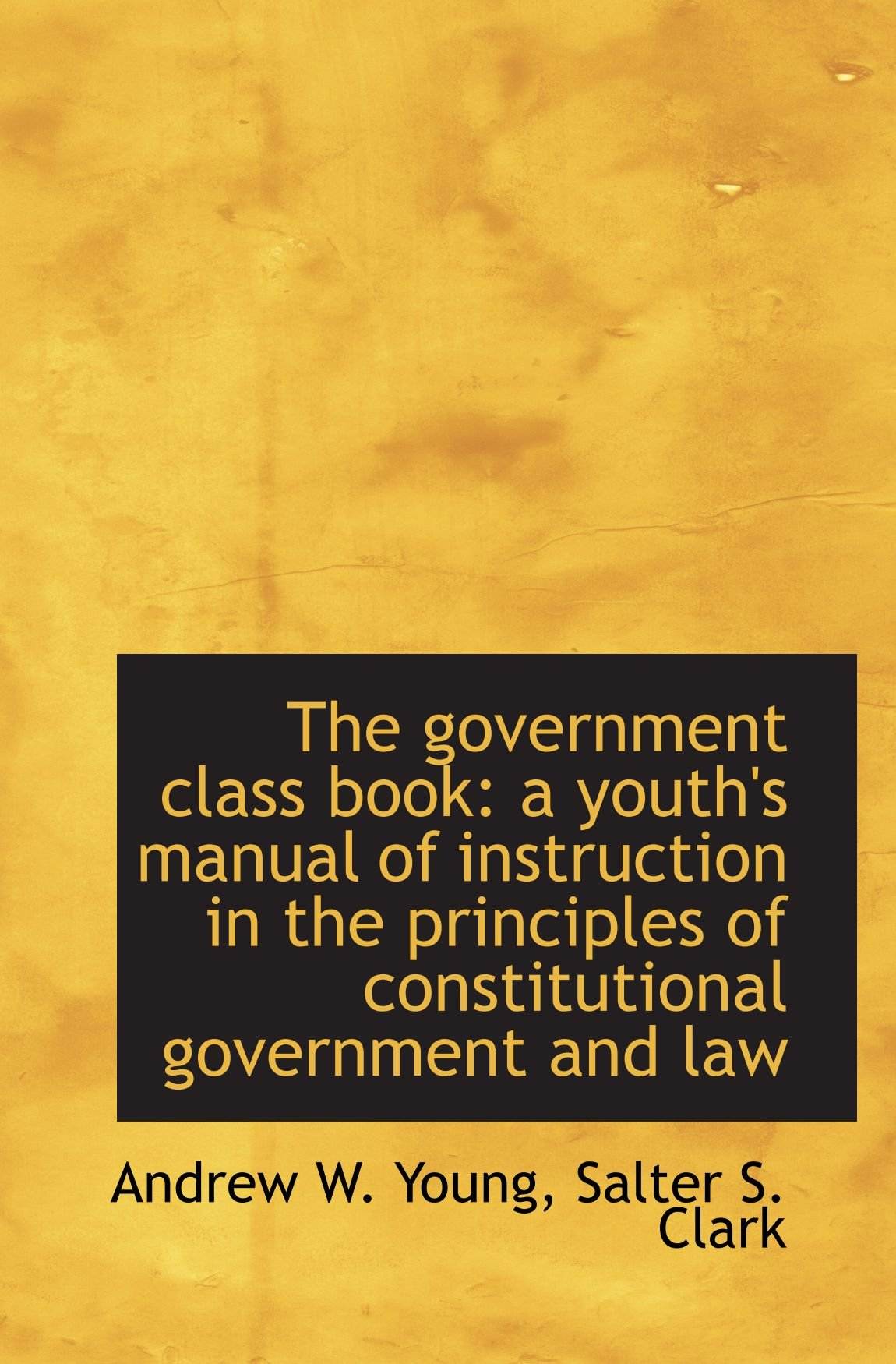 The government class book: a youth's manual of instruction in the principles  of constitutional gover: Andrew W. Young, Salter S. Clark: 9781117342290:  ...