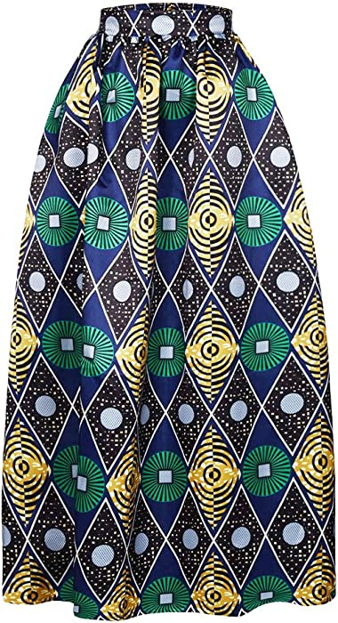 fb012591a8d VIGVOG Women s Ethnic Plus-Size African Print Pull-on Pleated Maxi A-line  Skirt with African Head Wrap