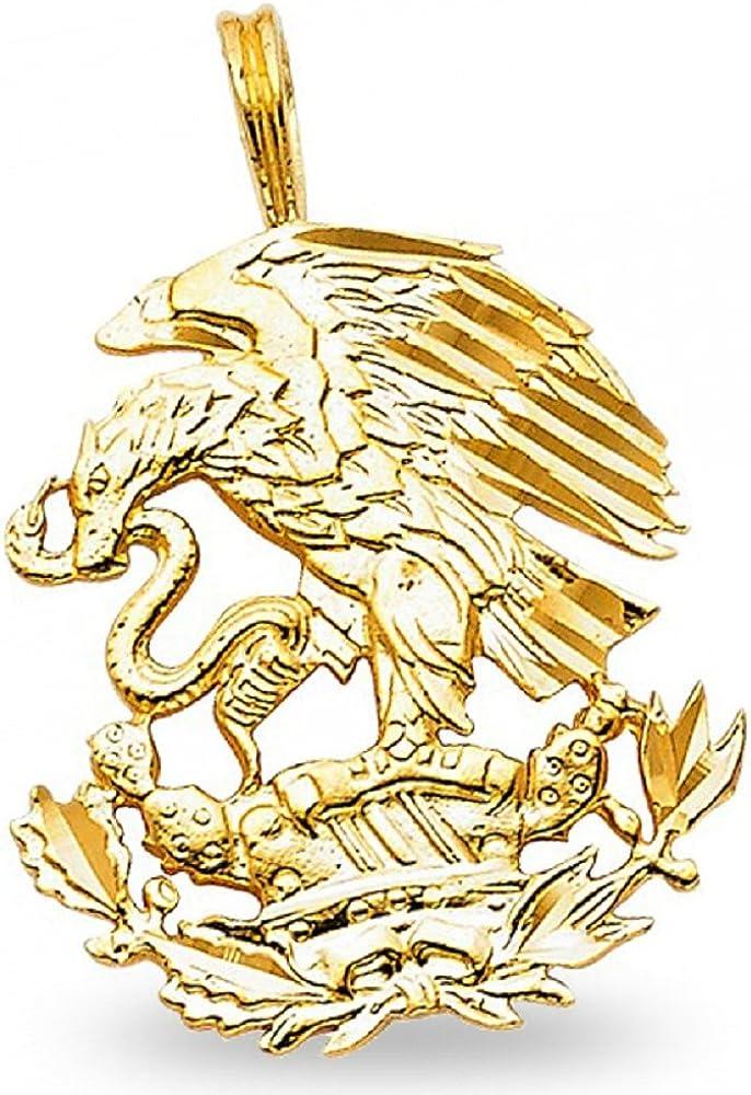 Million Charms 14k Yellow Gold Eagle Charm Pendant 23mm x 20mm