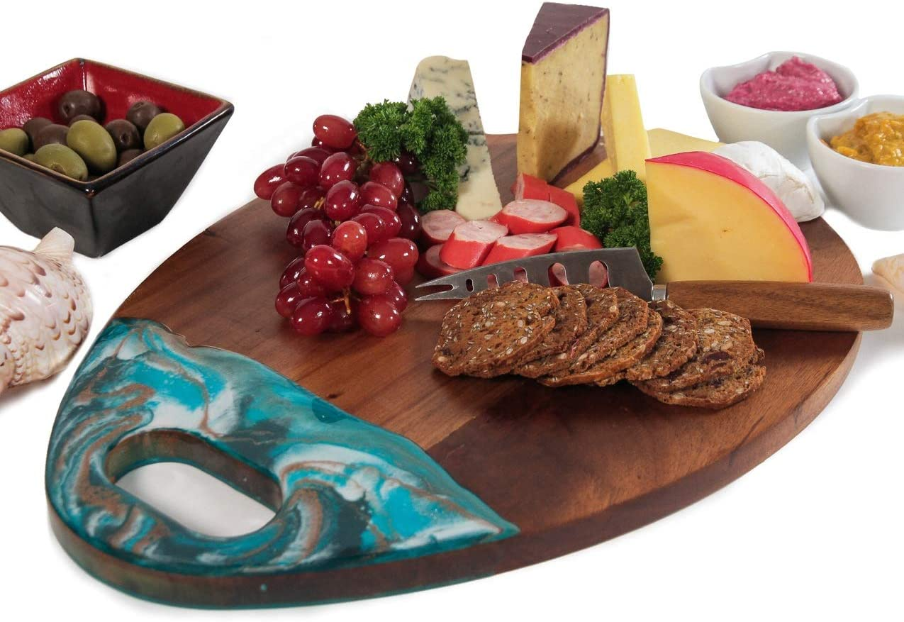 Wood Cheese Board and Knife Set, Large Cutting Board,16