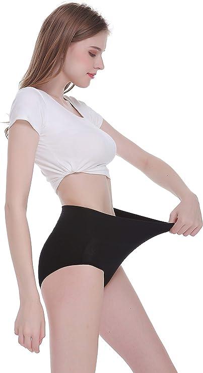 TUUHAW Mutande Donna Pacco da 5 Culotte Vita Alta Slip Cotone Mutantina Elastiche Pantaloncini Post Parto Taglia