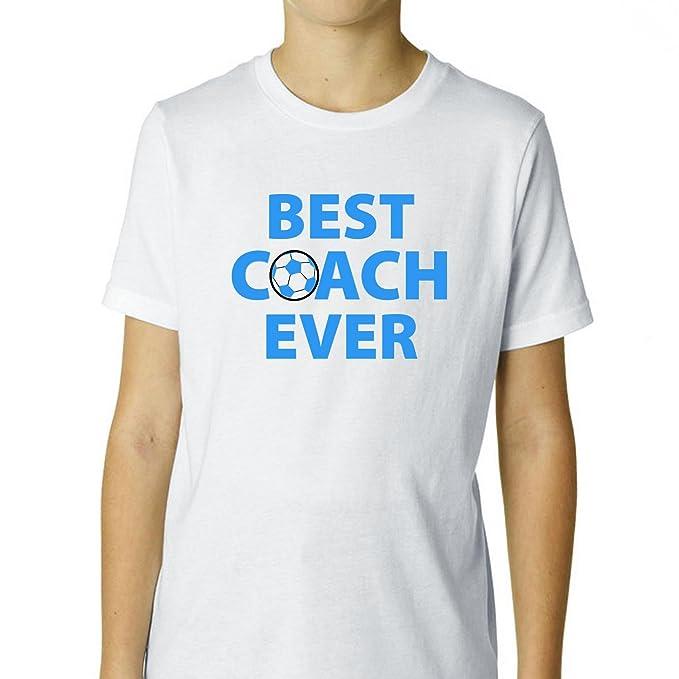 Mejor entrenador nunca jóvenes camiseta de algodón de balón de fútbol Boy con texto – de