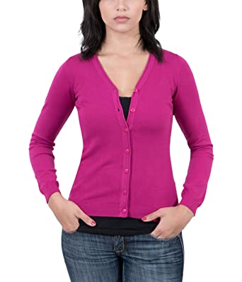 Real Cashmere Fuschia V-Neck Cardigan Womens Sweater at Amazon ...