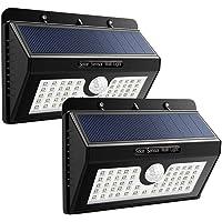 Echoming Foco Solar LED Exterior, 3 Modos Foco Solar 55 LED Jardin Exterior con Sensor Movimiento IP65 Impermeable Luz Solares LED (55led-2)