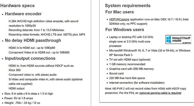 Hauppauge HD PVR 2 Gaming Edition Plus - Capturadora HDMI para PS3 ...