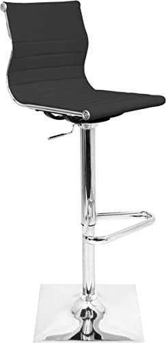 WOYBR BS-TW BK Pu Leather, Chrome Master Barstool, 46 x 15.5 x 18 , Black