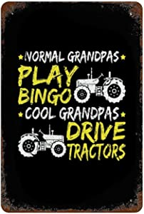 Personalized tin sign Wall Art Signs Vintage Farmhouse Decor Metal Signs Poster Grandpa Tractor Gift Farm Sign Restaurant for Kitchen Home Diner Coffee Retro Art Sign W8xH12 Inch