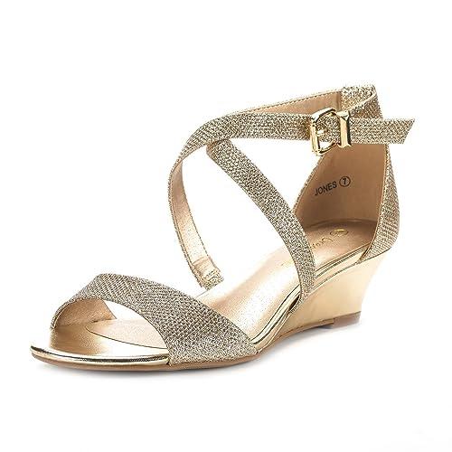 Dream Pairs Women's JONES Low Wedge Pump Sandals