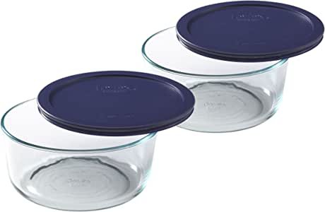 Pyrex Storage Plus 7-Cup Round Glass Food Storage Dish, Blue Cover, Pack of 2