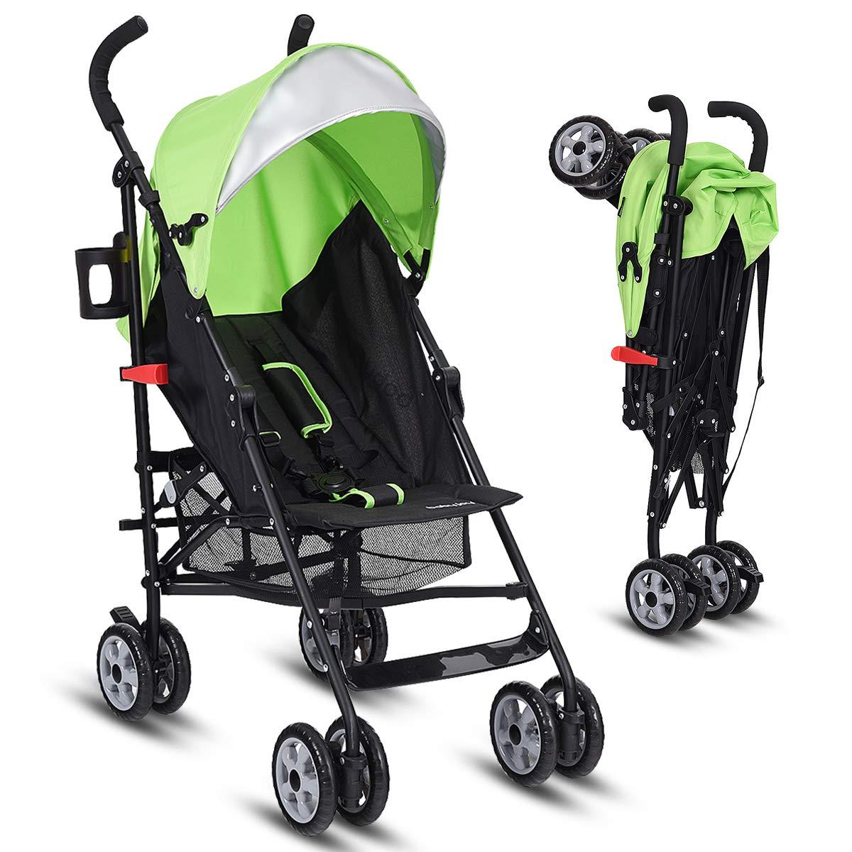INFANS Lightweight Baby Umbrella Stroller, Foldable Infant Travel Stroller with 4 Position Recline, Adjustable Backrest, Cup Holder, Storage Basket, UV Protection Canopy, Carry Belt (Green)