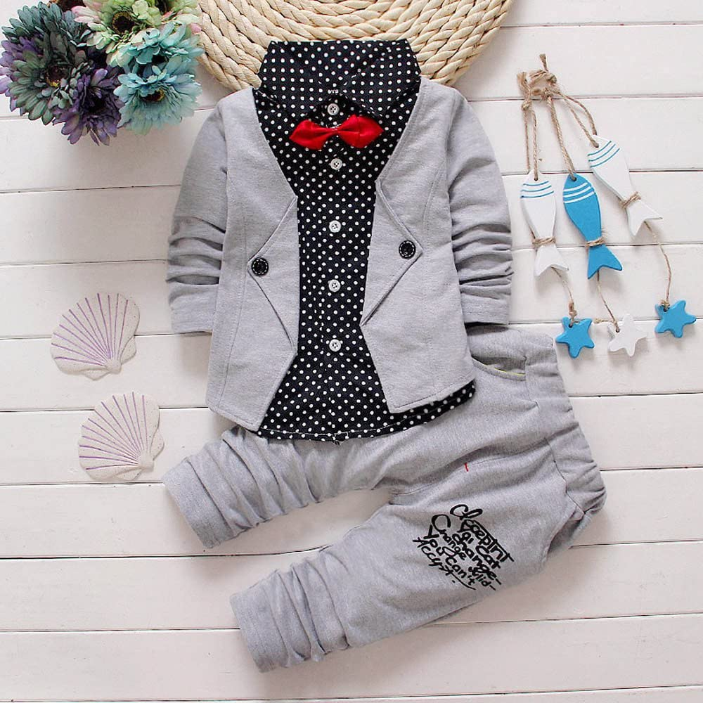 Kid Baby Boys Dress Gentleman Clothes Set Formal Party Christening Wedding Tuxedo 2PCS Suit with Bowtie