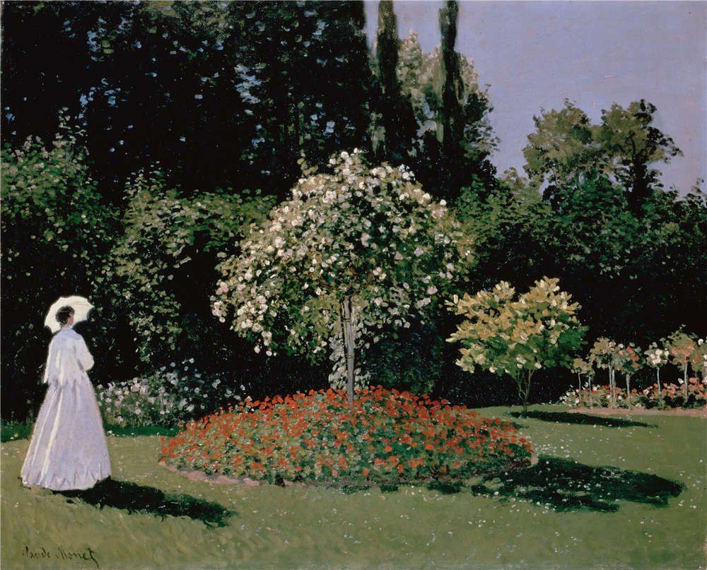Oil Painting 'Monet, Claude_1867_Woman In The Garden Sainte-Adresse' 30 x 37 inch / 76 x 94 cm , on High Definition HD canvas prints is for Gifts And Bath Room, Foyer And Home Theater Decoration, easy by LuxorPre