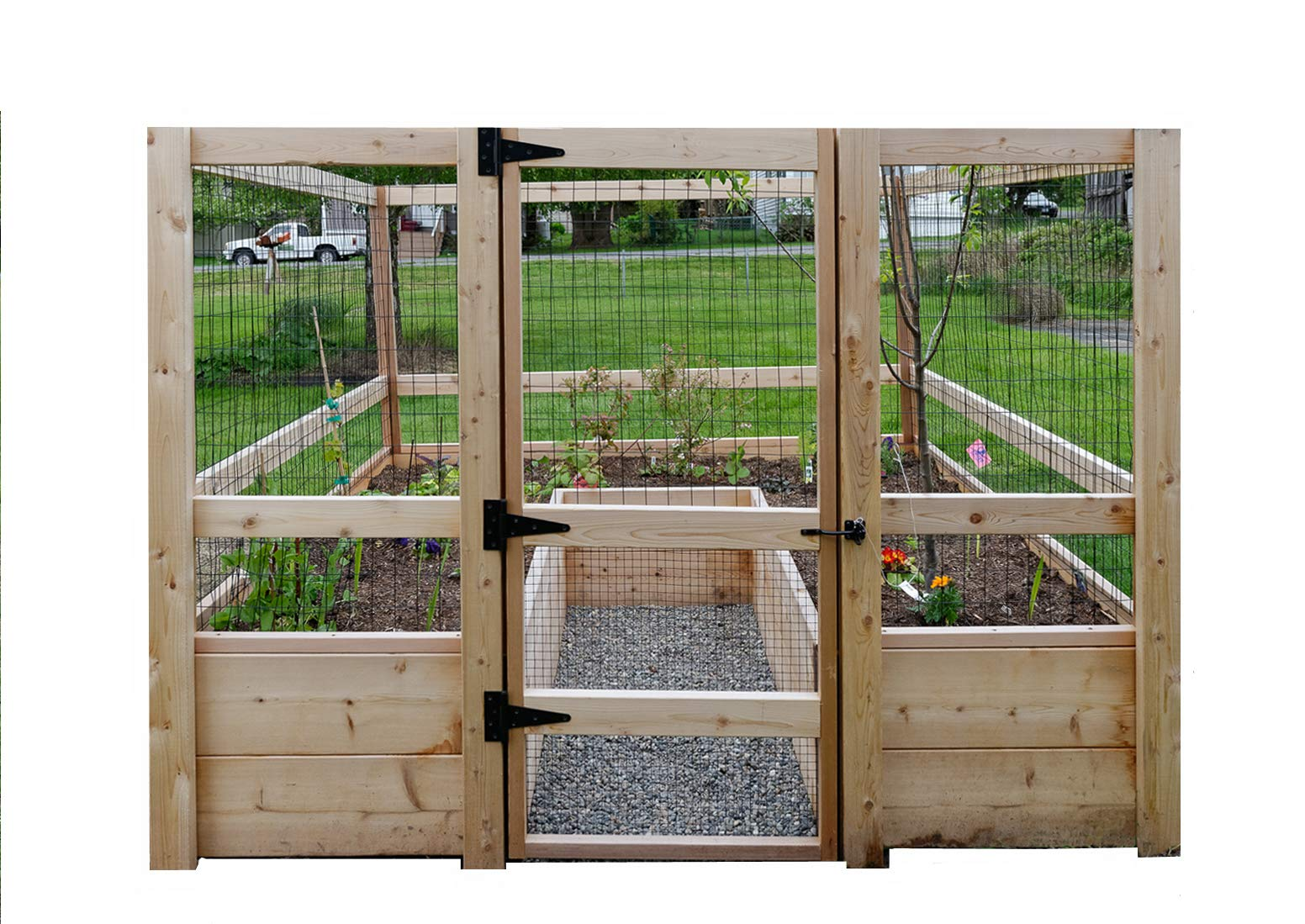 """Deer-Proof Just Add Lumber Vegetable Garden Kit - 8'x8' 1 DOES NOT INCLUDE LUMBER. Kit includes everything but the lumber: 8 Raised bed brackets, black nylon netting for fencing/trellis, black vinyl-coated steel wire for gate, ceramic-coated rust resistant screws, plus all other required hardware and detailed instructions Buy your own rough lumber locally - Build the ultimate vegetable garden with this kit. Required rough construction lumber : (10) 2""""x10""""x8'; (1) 2""""x10""""x6'; (6) 2""""x4""""x12'; (2) 2""""x4""""x8'; (3) 2""""x2""""x12'; (1) 2""""x2""""x8'; (4)1-5/8""""x1-5/8""""x12' (actual size). Note: the lumber boards will need to be further cut into the sizes described in the assembly instructions Gated garden keeps out deer, rabbits and dogs"""