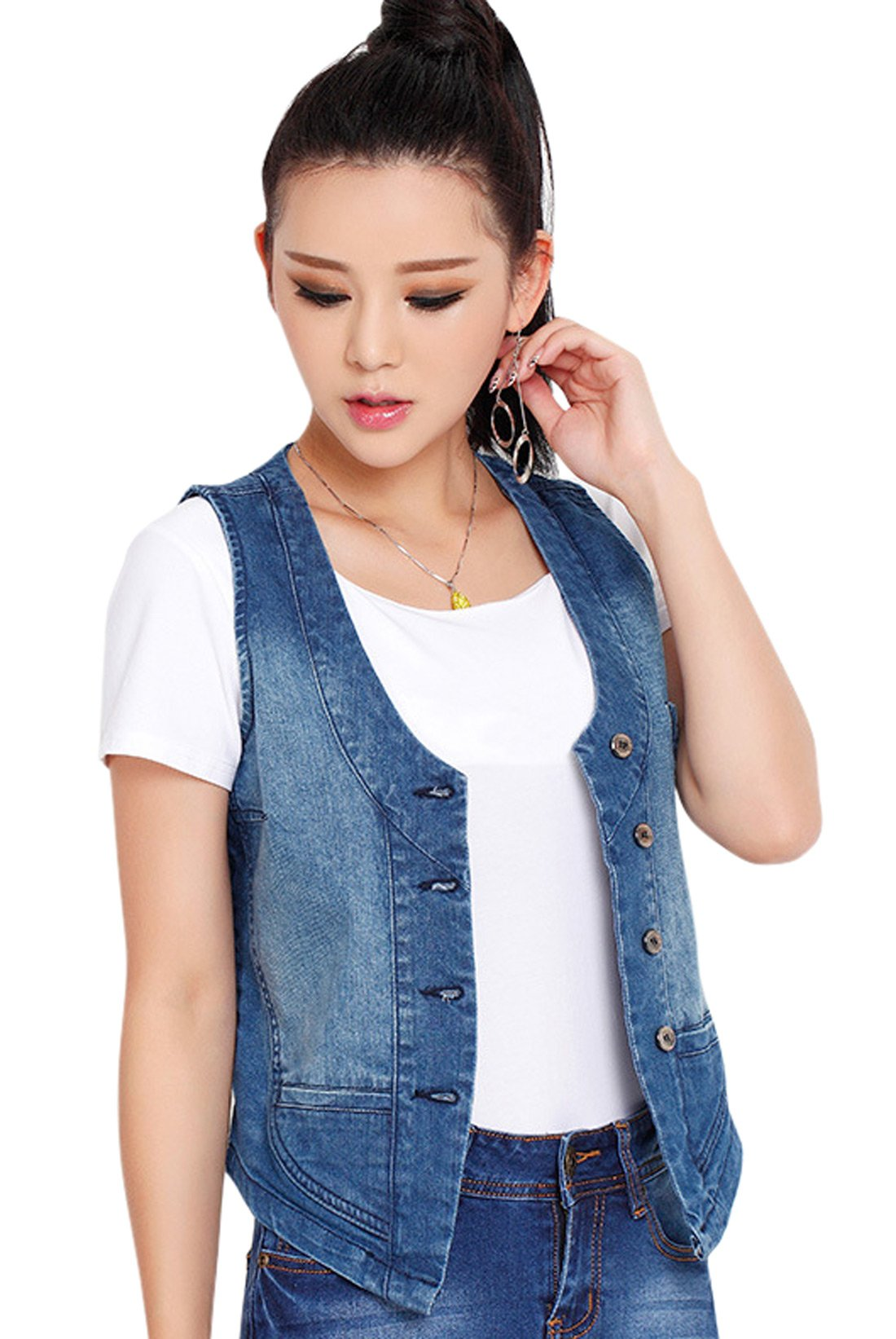 Chouyatou Women's Stretchy V-Neck Button Up Unlined Denim Waistcoat Vest (Large, Blue)