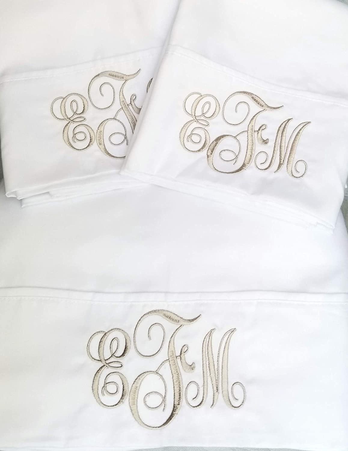 Monogrammed Sheet Set Custom Embroidery Monogrammed Personalized Sheets Bedding Queen Twin Full King
