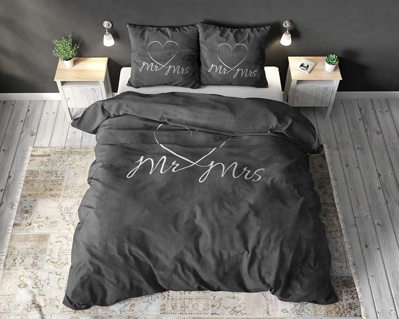 Dekbedovertrek Mr And Mrs, Romatisch Design, Koppels, liefde, Incl. Kussenslopen, 200x220 cm