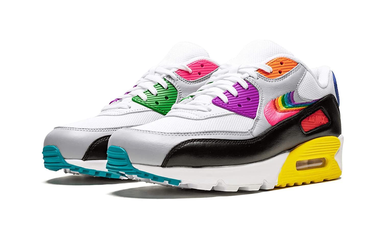 speical offer no sale tax designer fashion Nike Air Max 90 Betrue (White/Multi-Color-Black 9)