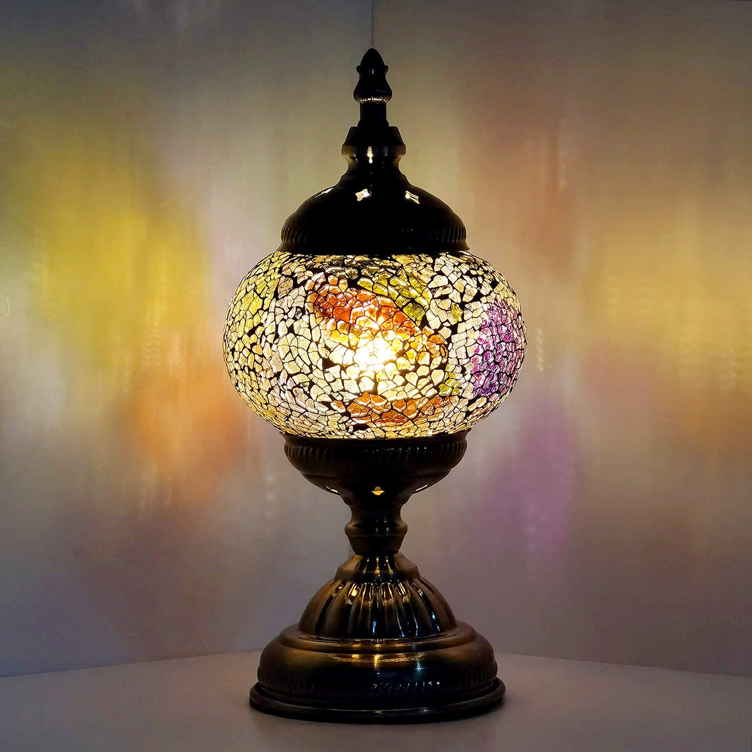 Marrakech Turkish Moroccan Handcrafted Mosaic Table Desk Bedside Lamp Vintage Night Lamp Tiffany Style Stained Glass Table Lamp for Small Home Decor (8)