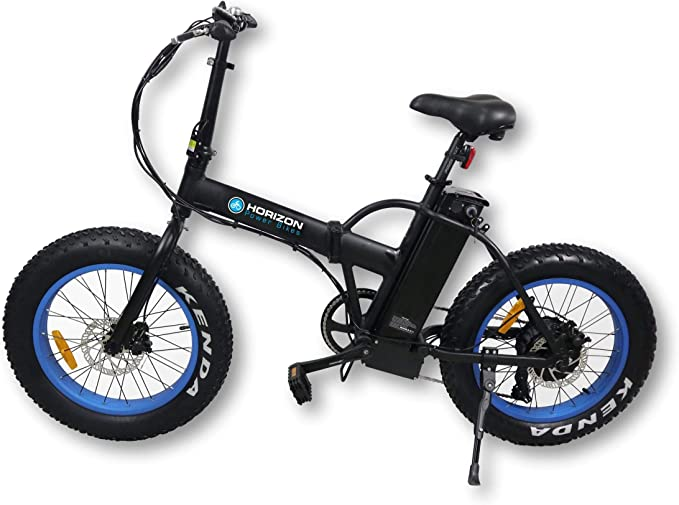 "Horizon Cruiser Folded Electric Bike for Snow Mountain Beach Electric Bike for Adults with Speed Gear and Best Folding Electric Bike Bicycle 500W 48V 20"" X 4.0"" Fat Tire (Blue)"