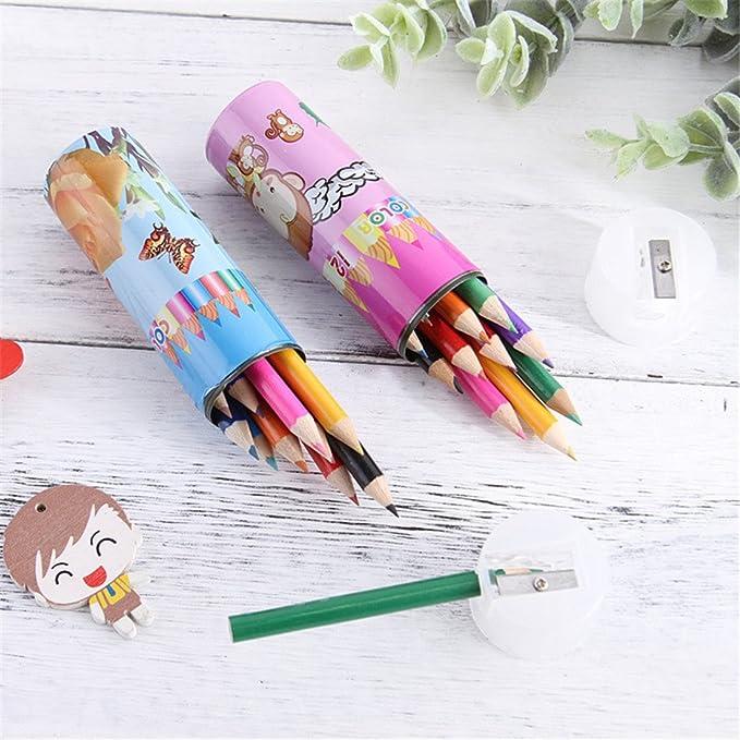 Lápices de colores de madera, CTGVH, 12 colores, mini lápices de dibujo, lápiz para estudiantes, oficina, artículos de papelería, regalo para niños: Amazon.es: Hogar