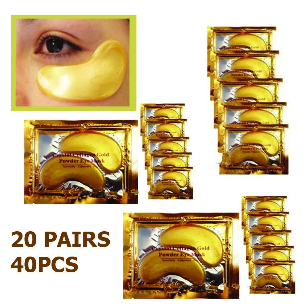 Ardisle 20 Pair Crystal Collagen 24k Gold Under Eye Gel Pad Face Mask Wrinkle Anti Aging Anti Ageing Wrinkle Premium Crystal Gold Collagen EYE Mask Crystal Bi oisturiser for Under Eye Wrinkles, Remove Bags Under Eyes, Eye Bag Removal, Under-eye, Dark Circ