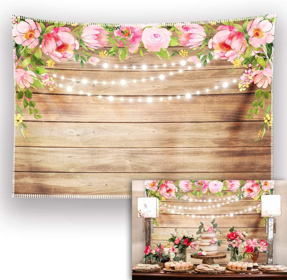 Allenjoy 7x5ft Durable/Soft Fabric Floral Rustic Backdrop Retro Flower Wooden Photography Background Wedding Bridal Shower Baby Birthday Party Supplies Banner Mother's Day Decoration Photo Booth Props