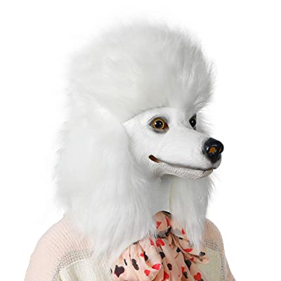 ifkoo Latex Poodle Mask Deluxe Halloween Costume Party Funny Super Bowl Underdog Dog Head Mask Animal: Toys & Games