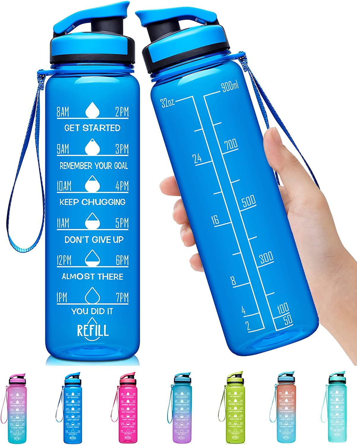 Elvira 32oz Large Water Bottle with Motivational Time Marker & Removable Strainer,Fast Flow BPA Free Non-Toxic for Fitness, Gym and Outdoor Sports
