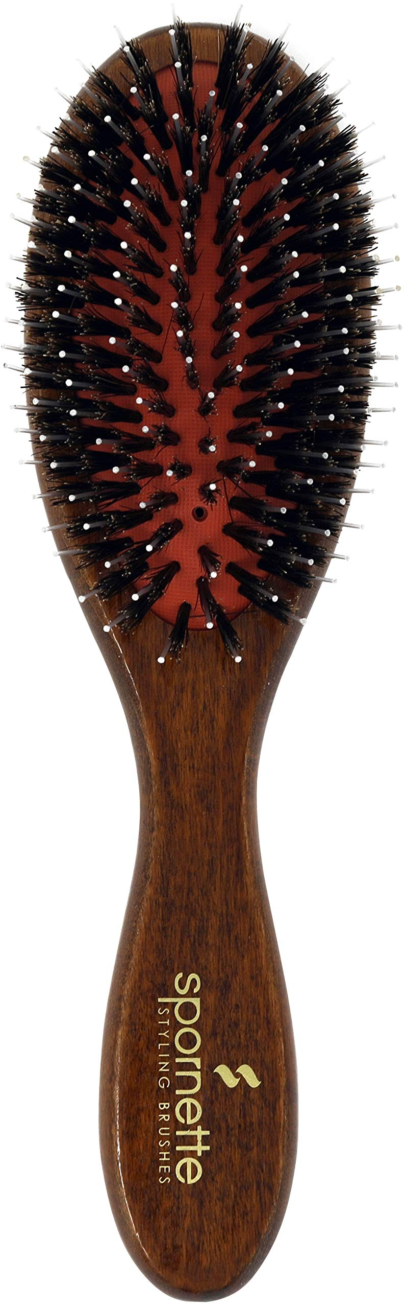 SPORNETTE Classic German Cushion Porcupine Boar & Nylon Bristle Oval Hair Brush #25 with Wooden Handle, Great for Brushing Out, Straightening, Smoothing, Detangling Thick, Normal or Thin Hair & Wigs
