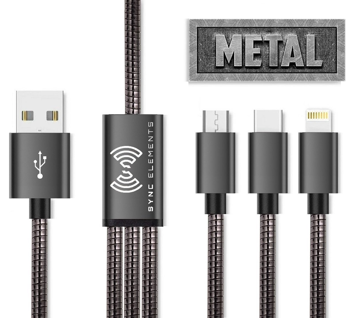 The 1st And Only Metal Braided Multi USB Charging Cable 4 ft. by SYNC ELEMENTS 3 in 1 Lightning, Type C, Micro USB Charger For All Android, Samsung Galaxy S9/Note 8, iPhone X/8/ and More (Dark Gray)