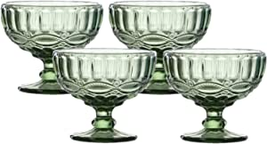 VanEnjoy Green Vintage Pressed Pattern Glass Ice Cream Cups/Dessert Bowls - Set of 4,12 Oz